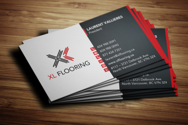 Business card design for XL Flooring