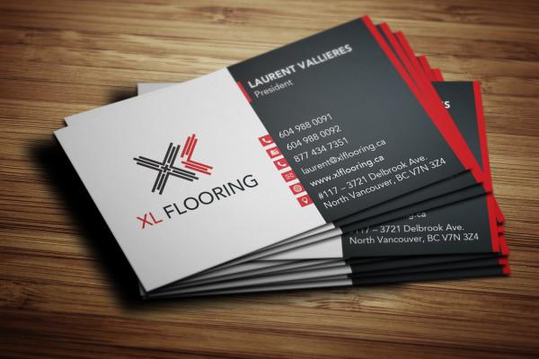Business card design for XL Flooring
