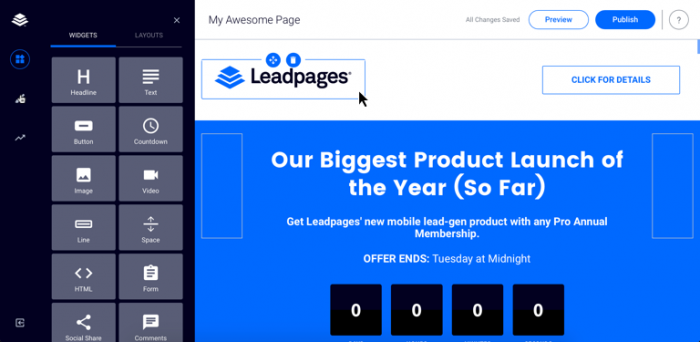 leadpages landing page software
