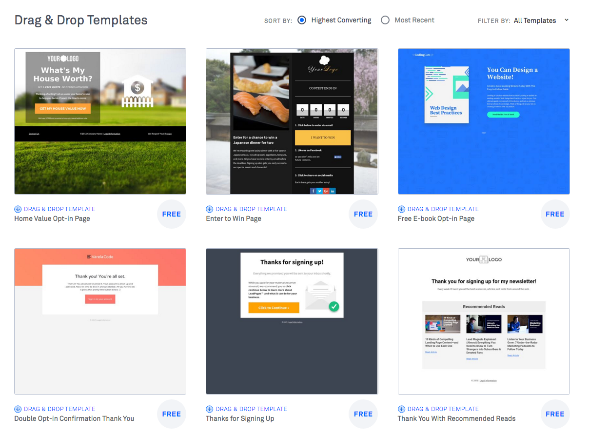 Comparison Table Leadpages 2020