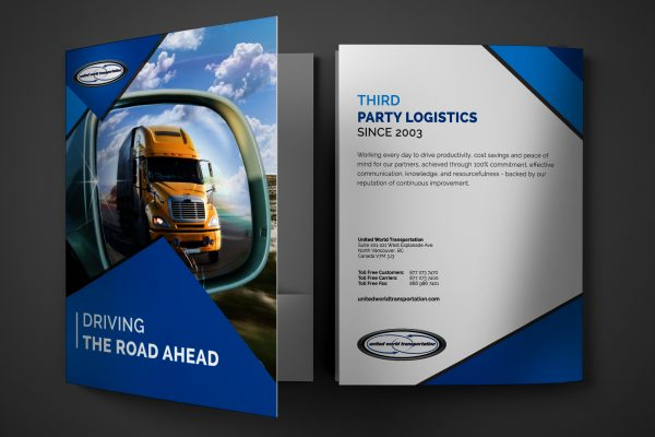 Presentation Folder Design for United  World Transportation